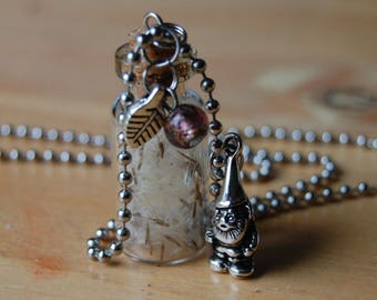 Wishes in a Bottle Necklace with Silver Garden Gnome Charm