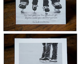 Thanks Dad - Father's Day - Hockey Dad Greeting Card 4.5x5