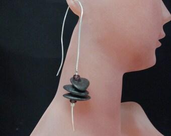 ABSTRACT ROCKS Earring - Long Sleek Silver Asymmetrical Earrings, Black Ceramic