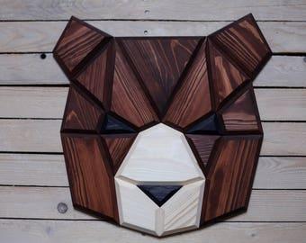 wooden bear wall decor