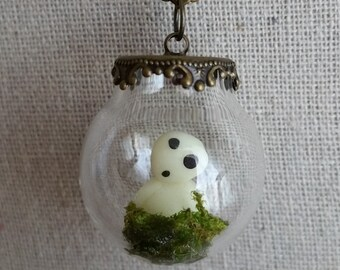 Kodama Terrarium Necklace, Glow in the Dark, Miniature Forest Spirit in a Fancy Glass Globe Pendant, Hypoallergenic Chain, Terrarium Jewelry