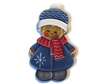 Ginger in Blue Coat Ornament or Fridge Magnet, Handpainted Wood Gingerbread Refrigerator Magnet, Hand Painted Ginger, Tole Painting