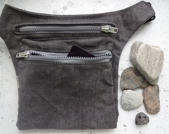 Gray Hip Bag ,Waxed Canvas Bum Bag ,Waxed Canvas Pouch, Festival Bag, Fanny Pack, Travel Pouch,  Canvas Waist Pack, Waist Bag