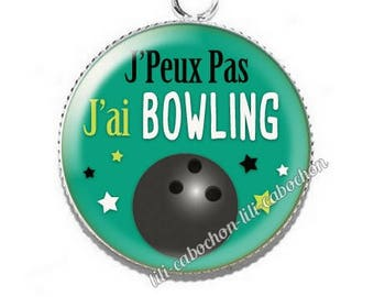 Resin cabochon pendant I can't I bowling