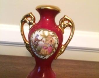 "Vintage Limoges Vase gilded 4"" Fragonard Hand Painted- Courting Couple"