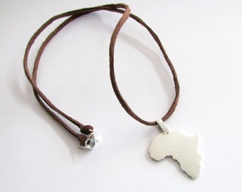 Africa necklace with leather chord Africa necklace for men Unisex Mens africa necklace