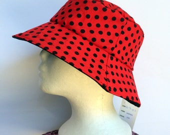 Retro Red Polka Dot Reversible Bucket Hat - girls sizes 6 mths - 8 yrs