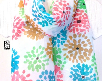 Hand Painted Silk Scarf, White Floral Scarf, Turquoise Blue and Green Chrysanthemum Scarf, Silk Scarves Takuyo, In Stock