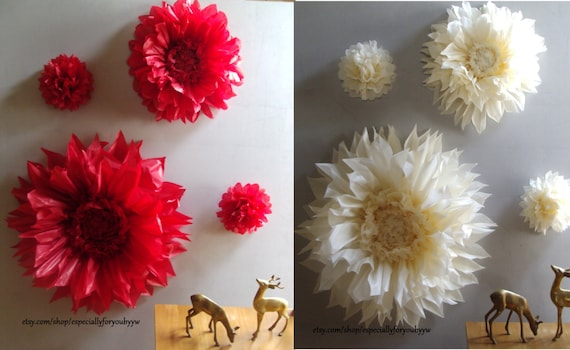 Items similar to christmas decoration set of 4 giant paper flowers items similar to christmas decoration set of 4 giant paper flowers perfect decorations for christmas weddingbirthday partybaby shower on etsy mightylinksfo