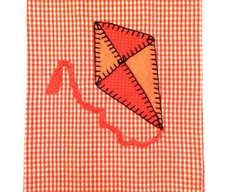 Spring Kitchen Towel, Spring Applique Kitchen Towel, Spring Tea Towel, Kite Applique, Kite Applique Kitchen Towel, Kite Applique Tea Towel