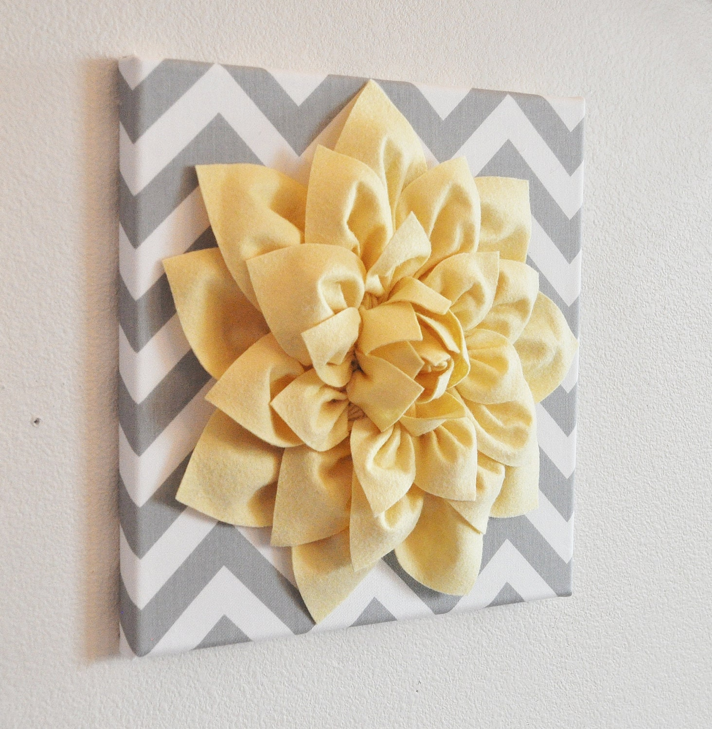 Wall Flower Light Yellow Dahlia on Gray and White Chevron 12