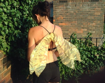 Realistic Foldable Strapless Poseable Fairy Wings, Gold Pearlescent Shimmery Fabric,