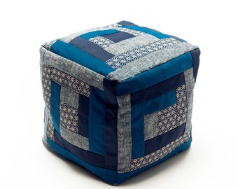 Cubic Log Cabin Patchwork pillow in Blue