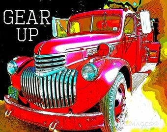 "Firetruck Nursery Kids Room Vintage Truck ""Gear Up"" 8x10 Art Red Yellow Black"