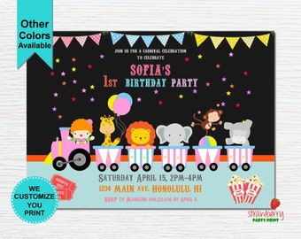 Circus Birthday Invitation, First Birthday, Carnival Theme Invitation, Circus Theme Invitation, Digital Printable