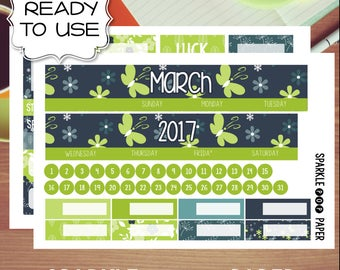March Spring Green Monthly Layout CLASSIC Happy Planner Stickers (Ready to Use)