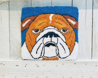 "Mailed Punch Needle Embroidery Pattern - ""Bulldog Bella"" 5.5 x 5 inches"