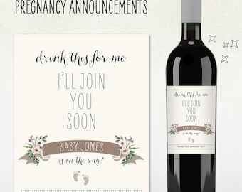 Pregnancy Announcement! drink this for me i'll join you soon baby on way! (Personalized) Custom Wine Label