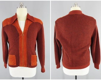1960s Vintage Hipster Sweater / Zip Front Sweater / Zip Front Cardigan Sweater / Montgomery Ward / Orlon Acrylic & Suede Leather / Size M