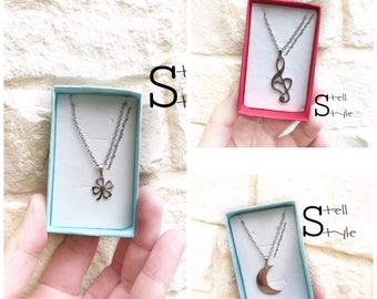Women's steel necklace with moonlight, violin key, Quadrifoglio-women's necklace, with moonlight, violin key, four leaf clover