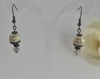 Zig-Zag Bead Earrings-Antique Finish
