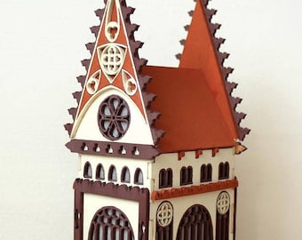 "nightlight wooden house ""Gothic""/nightlight/miniature house/decoration/arhitecture"