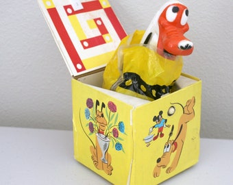 Pluto Jack In The Box, Vintage Walt Disney WDP #556 Cardboard Toy, Pop up Dog