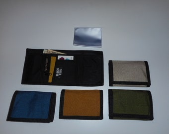 Trifold wallet with Inside coin zipper pocket,1000 denier Cordura Made in USA.