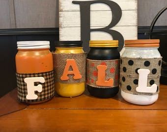 Seasonal decorative mason jars