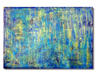 Blue Gold No. 1 by Carla Sá Fernandes, original, abstract painting, modern art, blue, acylic and oil on cork
