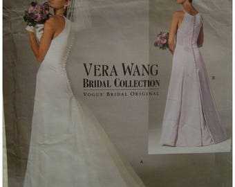 Vera Wang Bridal Gown Pattern, Open Shoulders, Fitted Bodice, Flared Train, Button Back, Petticoat, Vogue No. 2118 UNCUT Size 6 8 10