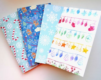 Always available - Christmas SET of Notebooks, Traveler's Notebook Insert, Fauxdori Inserts, Field Note Inserts, Standard, Regular Size