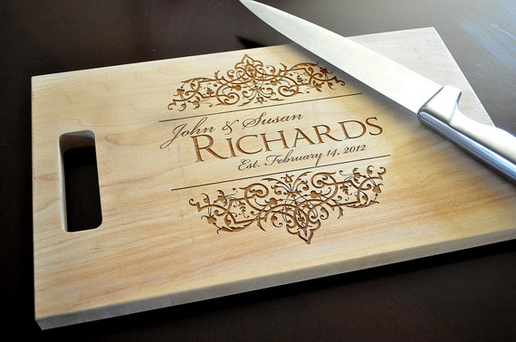 Personalized Cutting Board Laser Engraved 8x14 Wood Cutting