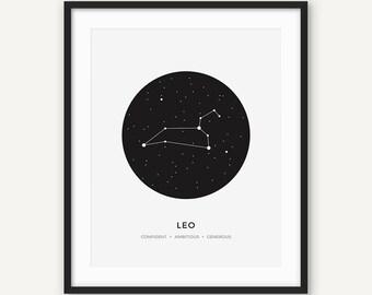 Constellation Wall Art,  Leo Zodiac Sign Print, Lion Minimalist Modern Geometric Poster, Black and White Decour, Astrology, Stars