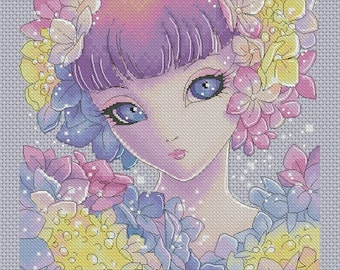 Cross stitch Chart Pattern - Hydrangea - Big Eyes by Mitzi Sato-Wiuff