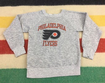 KIDS Vintage 80's Philadelphia Flyers Heather Gray Tri-Blend Youth Sweatshirt Sz Youth M