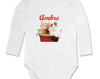 Bodysuit kittens in basket personalized with name