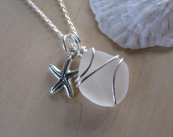 Tiny Sea Glass Necklace Beach Glass with Starfish Charm Jewelry Sea Glass