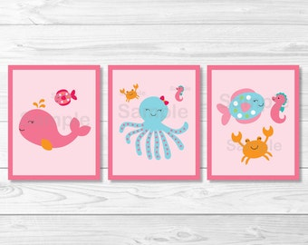 Cute Pink Under the Sea Nursery Wall Art / Under The Sea Nursery / Nautical Nursery Wall Art / Sea Animals / PRINTABLE Instant Download A192