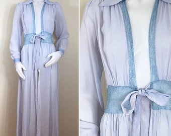 30% Off Sale 40s Lavender Powder Blue Lace Sheer Full Length Dressing Robe, XS
