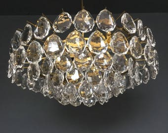 Large Brass and Glass Chandelier Bakalowits Mid Century Modern