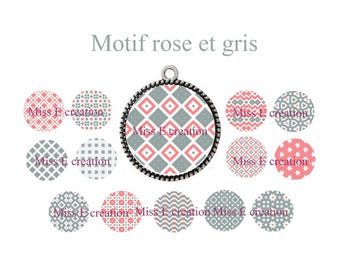 Pink and gray patterns for 25mm and 20mm and 18mm round cabochon digital collage sheet