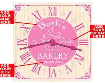 Personalized Bakery Shop Hardboard Wall Clock