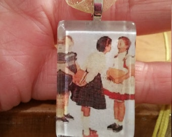"Norman Rockwell Saturday Evening Post Girls Neckace 18"" -20"" ribbon cabochon"