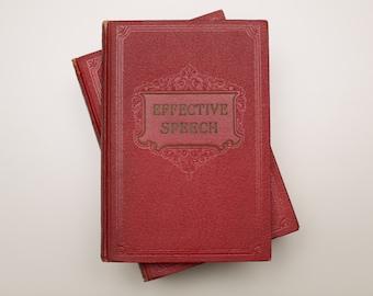 Effective Speech 6 Book Set, Complete Course, Dark Red, Vintage 30s