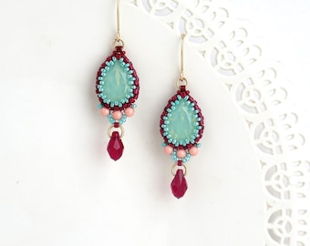 Fashion turquoise and red earrings, Swarovski crystal teardrop earrings, Colorful drop earrings for women, Beaded jewelry gift for mom