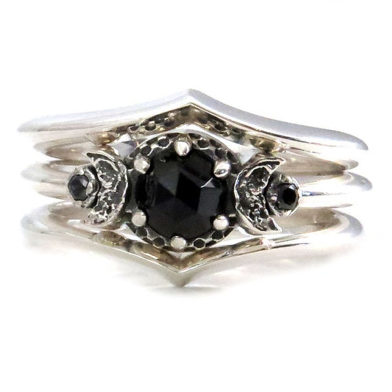 New Moon Engagement Ring Set with Black Diamonds and 2 Nesting V Bands - Sterling Silver