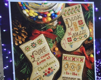 """Lizzie Kate - """"Flora McSample's 2015 Stockings"""" #173  Cross Stitch Pattern AND Embellishments"""