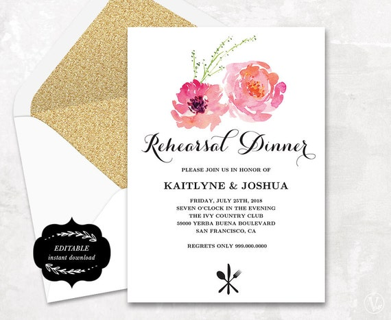 Rehearsal Dinner Invitation Printable Wedding Rehearsal