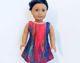 Pink and Blue Sleeveless Pintuck Dress, AG Doll Clothing, 18 Inch Doll Clothing, Made To Fit American Girl Doll